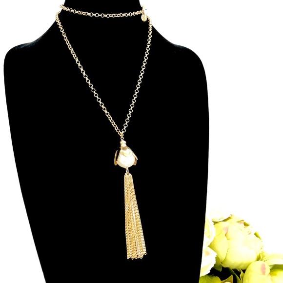 Talbots Jewelry - TALBOTS pearlized flower gold tassel necklace NWOT